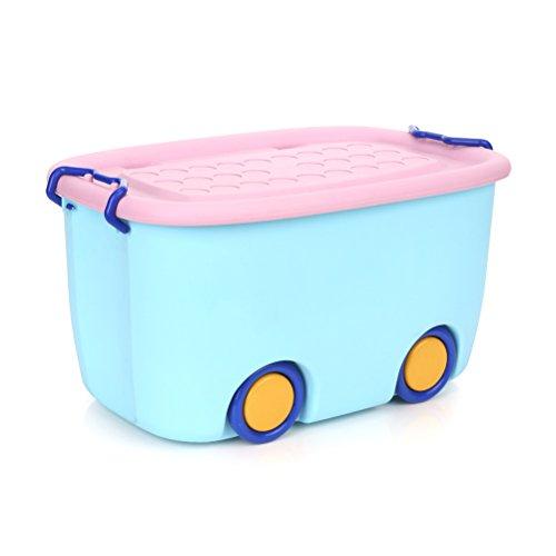 Yardwe Kinder Kunststoff Spielzeug Aufbewahrungsbox Box Container Kindergarten Kleidung Korb mit Deckel (Blau) (Stapelbar Spielzeug Bins)