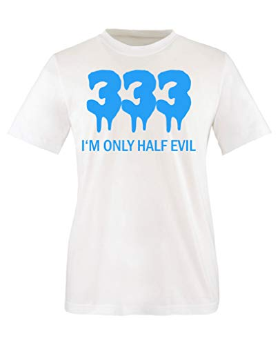 (Comedy Shirts - 333 I'm only Half Evil - Jungen T-Shirt - Weiss/Blau Gr. 152-164)