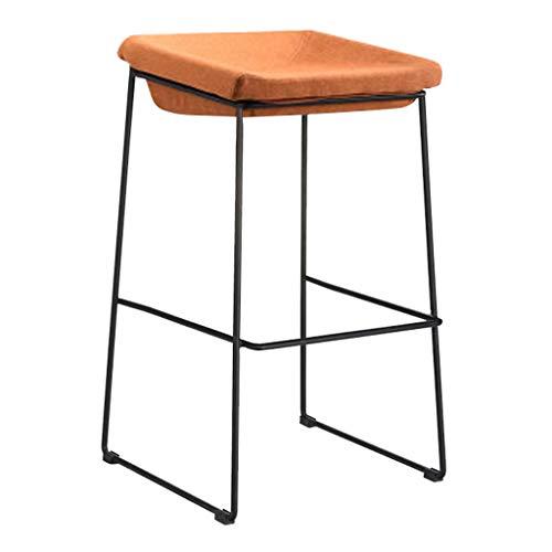 Sgabelli da bar nordici gambe nere imbottite imbottite in ferro battuto sgabello alto per il tempo libero creativo per il contatore domestico della cucina - cuscino arancione