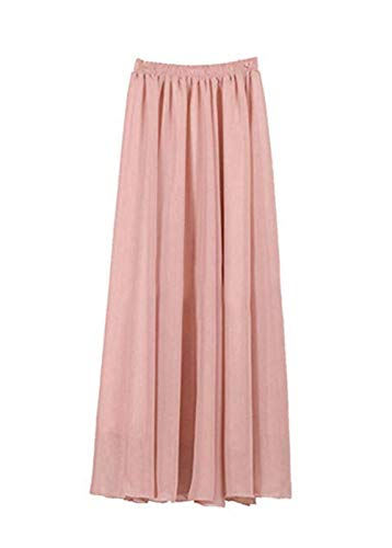 SUNNOW Rocke Damen Korean Stil Boho Plissee Retro Maxi Rock Elastisch Bund Tanz-Kleid Party Frauen Chiffon Rock Lang GR: one size
