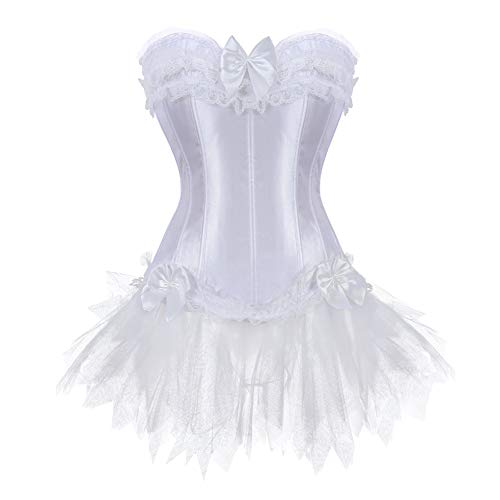 Elegant Princess Dress Satin Schnür Corsage Korsett Mit Tutu Rock (EUR(36-38) L, Weiß) (Korsett Plus Mit Size Tutu)