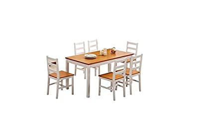 Yakoe Solid Wooden Pine Dining Table with 6 Chairs, White - cheap UK light shop.