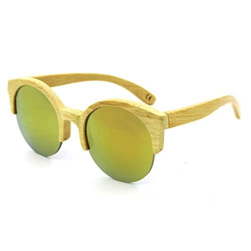 KUANGYE Runde, halbrandlose, handgefertigte Sonnenbrille aus Bambus mit klarem Holz und farbigem Glas, UV400-Schutz for Männer und Frauen (Farbe : Gold) - Klar Naturals Seife
