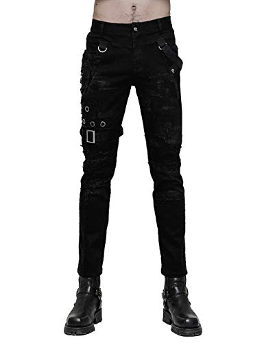 Punk Rave Men's Black Gothic Steampunk Casual Personality Vintage Pants L