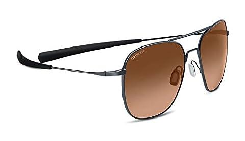 Serengeti Aerial Drivers Gradient Sunglasses - Shiny Dark Gunmetal, Medium/Large