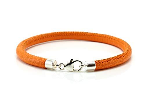 Orange-nappa Leder (Herren/Damen Nappa Lederarmband mit Sterling Silber Verschluss - Orange)