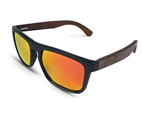 TWO-X Sonnenbrille Wood schwarz orange WF Look Holz Bamboo verspiegelt polarisiert