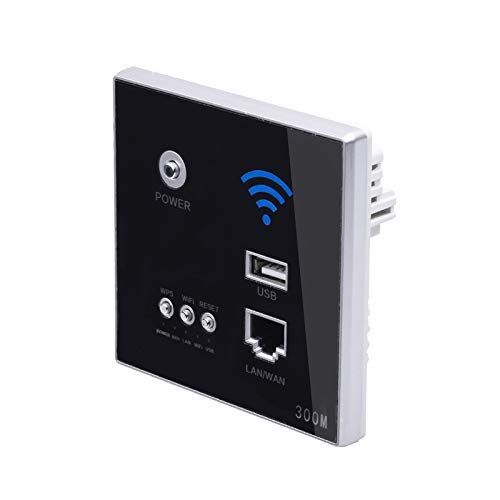 Andifany 300 Mbps Wand Router 110 V / 220 V Leistung Relais Intelligente Drahtlos WiFi Repeater Extender Wand Eingebettete 2,4 Ghz Router Panel USB Buchse Schwarz -