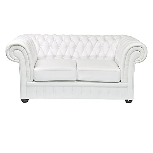 Classic Chesterfield 2-Sitzer weiss Sofa Outlet