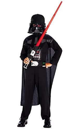 Costume star wars darth vader - guerriero - travestimenti per bambini - halloween - carnevale - nero - nero - completo - spada inclusa - bambino - taglia 7° - 4-5 anni - idea regalo