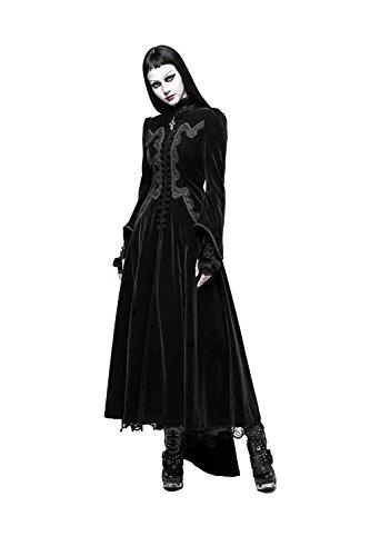 PUNK Gothic Herbst Winter Beflockung Frauen Wolle Jacke Mäntel Steampunk Schwarz Rot Stehkragen Rüschen Flare Sleeve Lange Mäntel ()