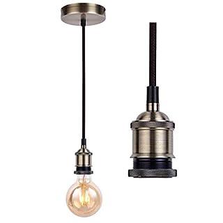 Vintage Ceiling Pendant Light Fitting,Braided Flex E27 Lamp Holder Suspended Pendant Light Fitting Kit-Antique Brass