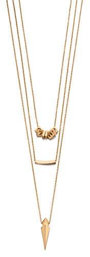 Fiorelli Costume N3895, Gold Triple Halskette mit Spitze und Perlen, quadratisch, 85 (Kostüm Designer London Schmuck)