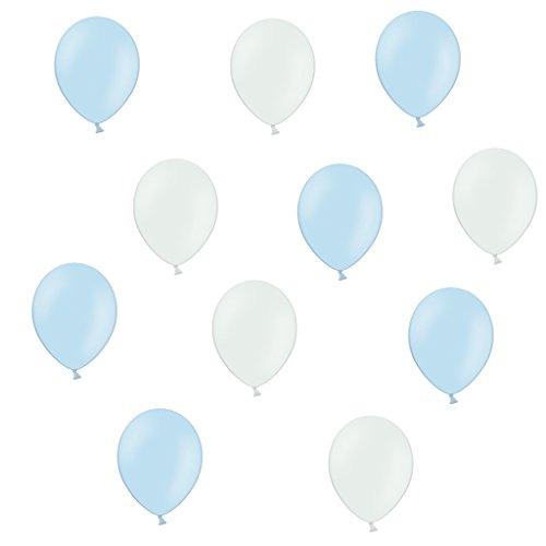 50 Premium Luftballons in Hellblau/Weiß - Made in EU - 100% Naturlatex somit 100% giftfrei und 100% biologisch abbaubar - Geburtstag Party Hochzeit Silvester Karneval - für Helium geeignet - twist4®
