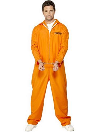 Halloweenia - Herren Männer Sträfling Häftling Gangster Kostüm mit Overall Einteiler Onesie, perfekt für Karneval, Fasching und Fastnacht, L, Orange