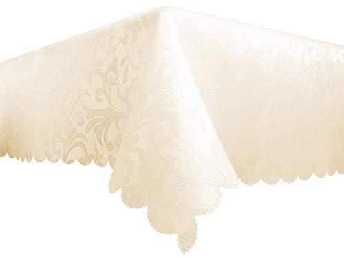 Tovaglia rettangolare in fantasia jacquard bianco e avorio, realizzata in tessuto idrorepellente, ideale per decorare il tavolo della cucina o della sala da pranzo, poliestere, ivory, 110cm x 160cm (43