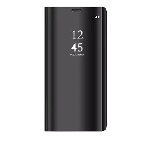 Coque pour Samsung Galaxy S9/S9 Plus Coque Clear View Case Etui Flip Clair Transparente Anti-Empreintes Housse Plating Mirror Téléphone Portable Couverture Standing (S9 Plus, Noir)