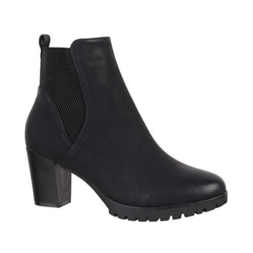 Elara Ankle Boots | Trendige Damen Stiefeletten | Blockabsatz Plateau | Chunkyrayan 6697 Black-38