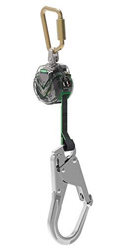 MSA V-Tec Modernster und kompaktester Personenfallbegrenzer Höhensicherungsgerät EN360 1,8m Alu-Gerüsthaken Gurtverbindung: Stahl-TwistLock Karabiner -