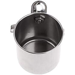 Balacoo Taza de Agua para Pájaros de Acero Inoxidable Colgante para Alimentación de Jaula Tazón de Pie Soporte Percha para Loro Accesorios para Jaula (Plata)