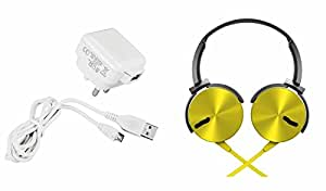 MIRZA Mobile Charger & Extra Extra Bass XB450 Headphones for XOLO A500S LITE(Mobile Wall Charger||Travel Charger||With Power Adapter||Mobile Charger||With Seperate Data Cable||USB Cable||Data Transfer Cable & Extra Extra Bass XB450 Headphones)