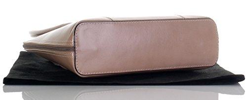 Cuoio lucido liscio italiano classico stile borsetta Tote Grab Bag o borsa a tracolla.Include una custodia protettiva marca Beige