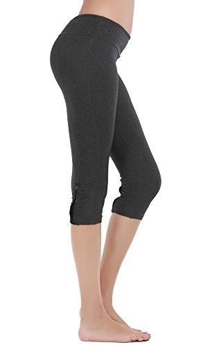 DeepTwist Yoga Hosen Power Flex Capri Tummy Control Shapewear Sporthose Workout Leggings für Damen mit Reißverschluss, UK-DT4010-Dark Grey-12 -