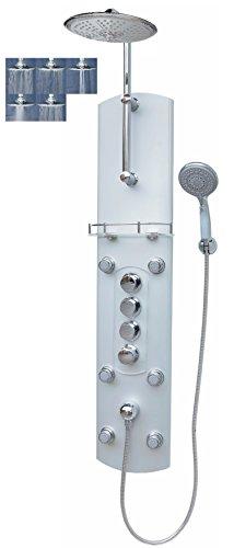 Thermostat Duschpaneel Brausepaneel Duschsäule Duschsystem große Regendusche mit 5 Funktionen runde Regenwald Dusche mit 6 Massagedüsen aus Aluminium Handbrause Duscharmatur Wand-und-Eckmontage