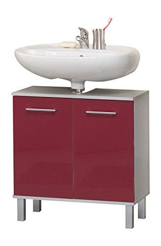 Kesper Badmöbel 9770910303401000 Waschbeckenunterschrank Prato, 2 Türen, 67 x 65 x 31,5 cm, alu / rot
