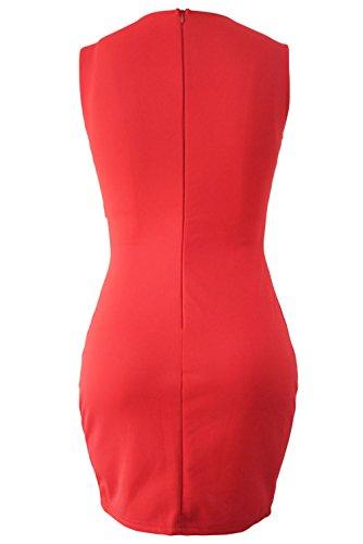 La Vogue Femme Robe Asymétrique Mini Moulant Décolleté Clubwear Rouge