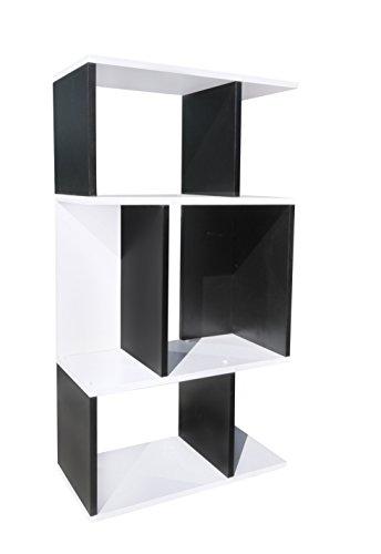Rebecca SRL Bibliotheque 3 Etageres Bois Blanc Noir Design Moderne Sejour Chambre Bureau (Cod. 0-1148)