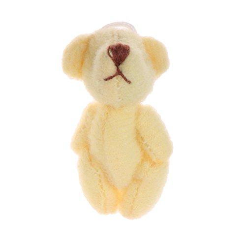 D DOLITY Miniatur Bär Plüschtier Kuscheltier Tiermodell Spielzeug Für 18'' Puppe Zubehör - Gelb -