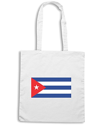 T-Shirtshock - Borsa Shopping TM0182 Cuba flag flag Bianco