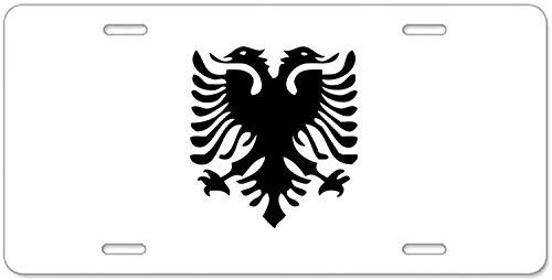 Fhdang Decor Albanischer Adler Aluminium-Nummernschild, Aluminium-Nummernschild, Front-Kennzeichen, Vanity Tag 4 Löcher, Autozubehör, 15,2 x 30,5 cm (Kennzeichenhalter Adler)