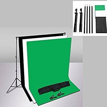 MVPOWER Profi Studio Hintergrundsystem Fotostudio Teleskop Fotoständer Kit inkl. Hintergrund Stoff weiß schwarz grün( nonwoven) + Tragtasche (2X3M Stativ mit 1.6*2M Stoff B)