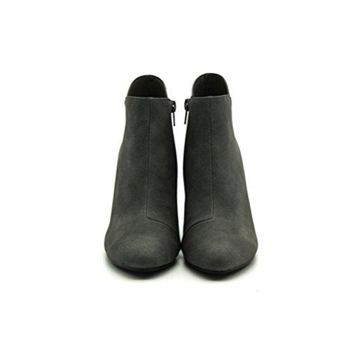 QPYC Scarponcino tacco da donna Tacco medio Tacco medio Stivali tacco alto con cerniera laterale gray