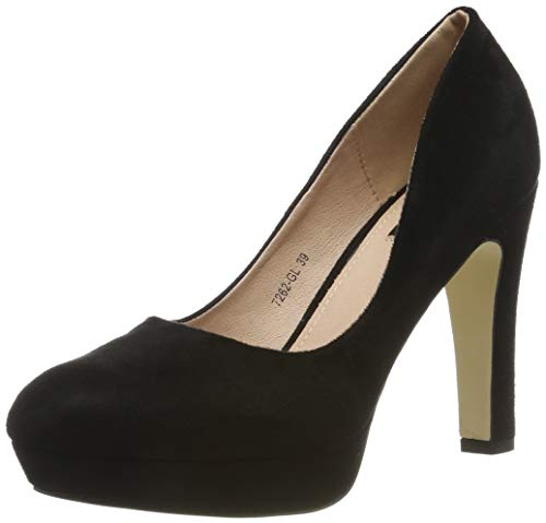 Elara Damen Pumps High Heels Vintag Abendschuh Chunkyrayan 7262-GL Black-39