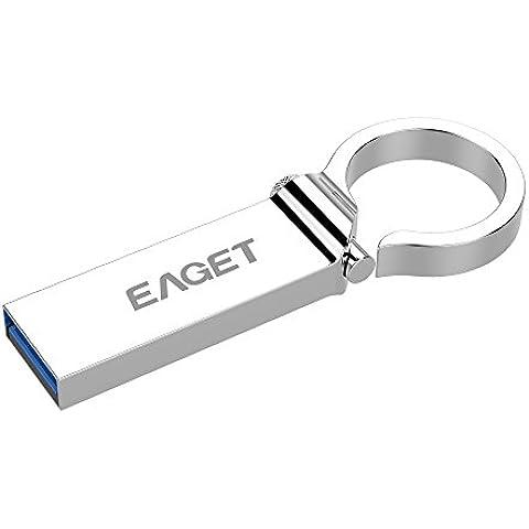 Unidad flash de alta velocidad USB 3.0 de acero inoxidable con diseño de clip con resorte EAGET U96 de (64GB)