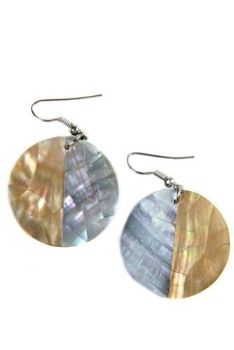 Mother of Pearl Resin Ear Pendant - One Pair of Earrings from Bali - Handmade with Multicoloured Mosaic Pattern - Mother of Pearl, Resin, Not Available, Brown