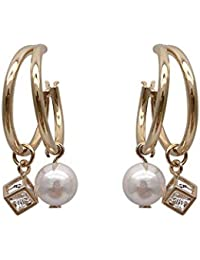0b6d5ded6181 CHENERHUAN Aretes De Aleación De La Mujer Joyería Plaza De Perla Diamante  Cz Earrings Anillo Doble