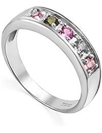 colorfey S925plata anillos con gemas Semi Precious piedra natural turmalina de Brasil para mujer niñas, tamaño L, N, o, P, Q, R, S, T, U, V, W disponibles)