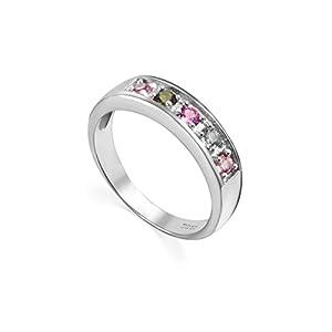 COLORFEY S925 Silber Ringe mit Edelsteinen Halbedelstein Naturstein Turmalin aus Brasilien für Damen Mädchen Größe L, N, O, P, Q, R, S, T, U, V, W erhältlich