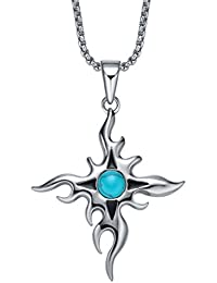 Stainless Steel Turquoise Bead and Sun Star Cross Pendant Necklace with 3.5mm Round Link Chain G2021C4
