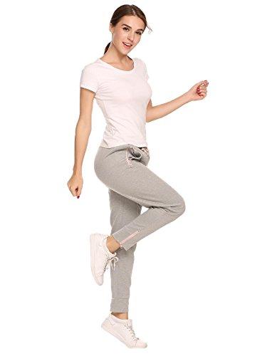 Ekouear Damen Sporthose Jogginghose Lang Sweathose Casual Elastische Taille mit Tunnelzugbund Jogpants mit Taschen Grau
