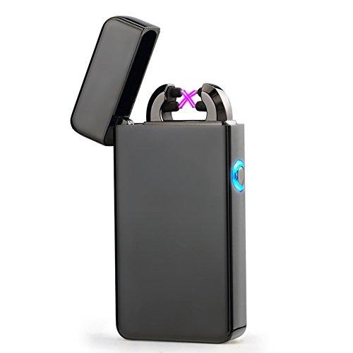 USB Elektronisches Feuerzeug Juleya Dual Lichtbogen Aufladbar Winddicht Flammenlose Schwarz
