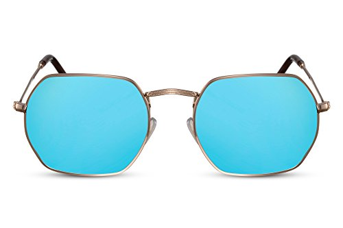 Cheapass Runde Sonnenbrille Achteckig-e Gläser Verspiegelt Blau Gold Retro Metall Damen Herren