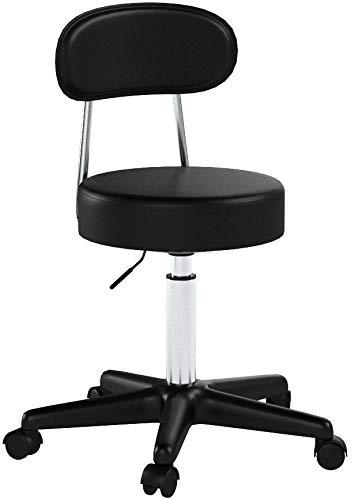 SONGMICS Barhocker Drehhocker auf Rollen, höhenverstellbarer Rollhocker, mit Kunstleder bezogener Sitz, Arbeitshocker für Kosmetikstudios, Büros, Praxen, schwarz LJB81B