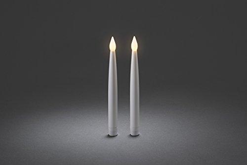 Konstsmide 1878–210, Vela LED (2unidades, blanco, grande/para interior (IP20)/2Luz Blanca Cálida flackernde diodos con interruptor de encendido/apagado/Funciona Con Pilas: 4x AA 1.5V (Incluye)
