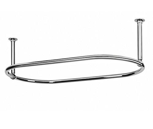Barra (riel) cromada, con soportes para el techo para cortina de ducha ovalada.