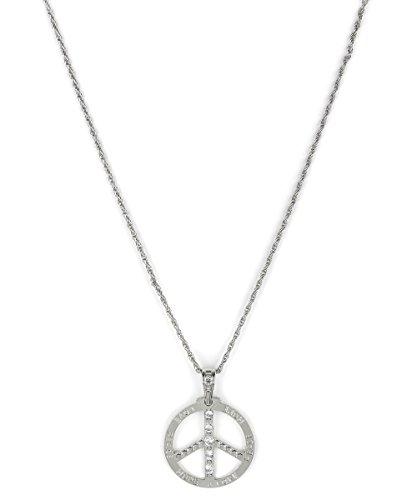 70er Halskette Peace-Zeichen Strass Hippie silber (Großes Zeichen Peace Halskette)